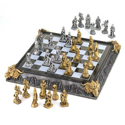 Medieval Knights Chess Set Family Game Finely Detailed Chessmen Store in Case