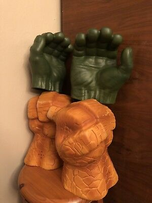 Marvel Fantastic Four 4 The Thing Fists and Incredible Hulk Grip Fists Combo