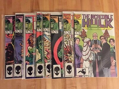 Incredible Hulk #312 313 314 315 316 317 318 319 (Marvel 1985-86) Nm To Nm+ Lot