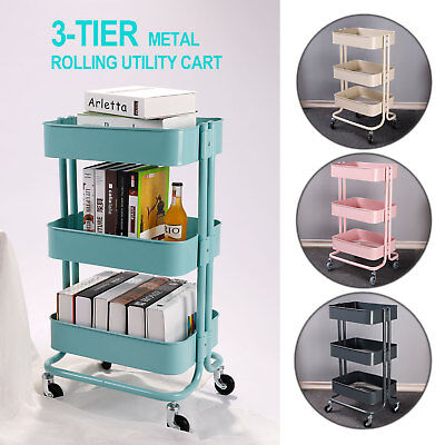 3-Tier Metal Rolling Utility Cart Mobile Storage Organizer Trolley Cart