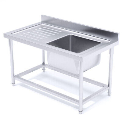 SOGA Commercial Kitchen Right Sink Work Bench Stainless Steel Food Prep
