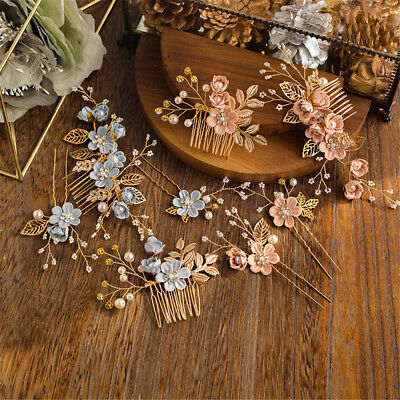 Fashion Flower Hair Combs Gold Leaves Hair Pins Headdress Prom Bridal Wedding