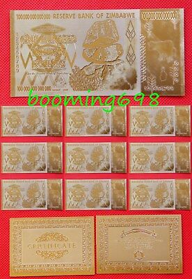 10PCS Zimbabwe 100 Trillion Dollars Banknotes Color Gold Bill and Certificate