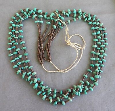Native American Santo Domingo 4 Strand Turquoise & Shell Heishi Necklace