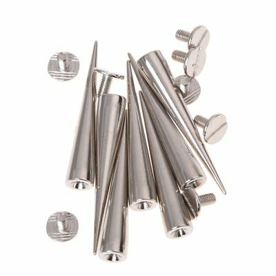 10 Set Silver Screw Bullet Rivet Spike Studs Spots DIY Rock Punk H4Q8