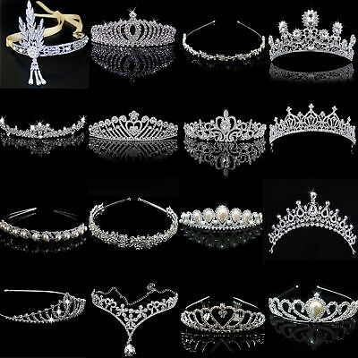 US Bridal Wedding Crystal Flower Tiara Crown Pearl Rhinestone Hair Headband
