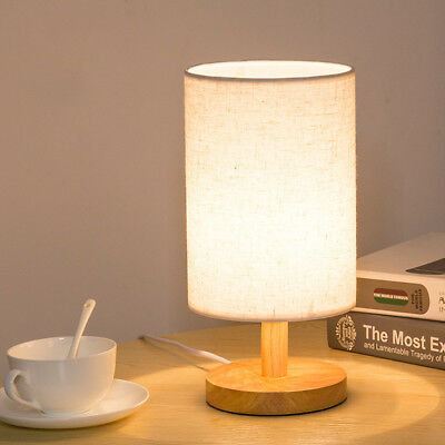 Wood Table Lamp Bedside Desk Lamp With Round Flaxen Fabric Shade for Bedroom US