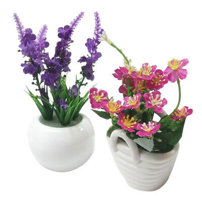 Emulate Bonsai Artificial Flowers Pot Decors Home Plants Ornaments Displays