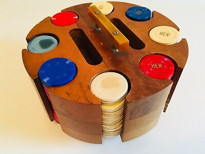 Vintage Wooden Revolving Spinning Poker Chip Holder Caddy Bakelite Handle Chips