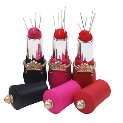 Craft Portable Sewing Tool Lipstick Shape Pin Cushions Rotatable Needles Holder