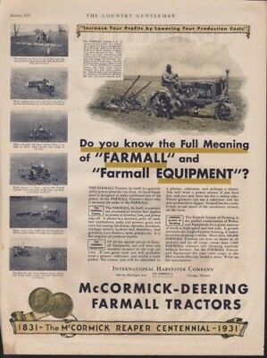1931 International Harvester Farm Equipment Tractor Ad 10261