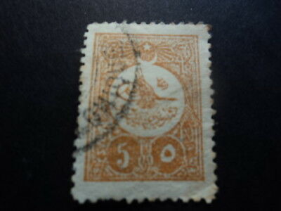 Ottoman Empire Turkey old stamp 5 paras yellow