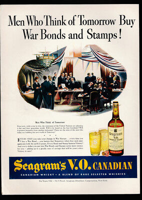 1942 Vintage Print Ad 40's SEAGRAM'S V.O. Canadian whiskey united nations wwII