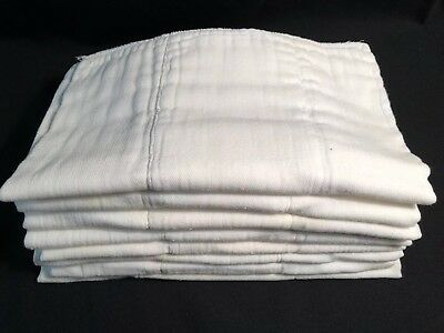 "Vintage 50's Cotton Cloth Diapers PreFold Xtra Thick 12 X 13"" Lot Of 8"
