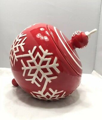 Red Christmas Ornament Cookie Jar By Real Home ~Decoration ~Snowflake