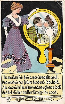Halloween Greeting ? postcard 1908 Rose Co Lady Mirror Brother Kissing Cook