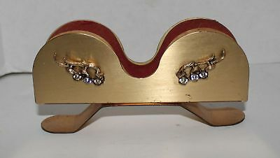 Vintage Dresser Gold-tone or Brass Eye Glass Holder w/Rhinestones