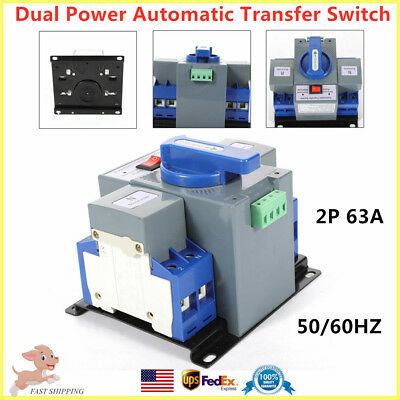 2P 63A Dual Power Automatic Transfer Switch Generator Changeover 110V 50/60HZ US