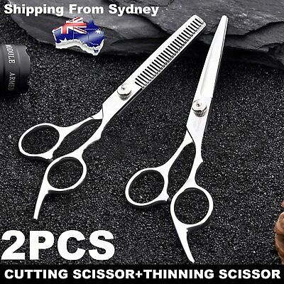 6'' Barber Shears Hair Cutting Thinning Scissors Professional Salon Set AU Razor