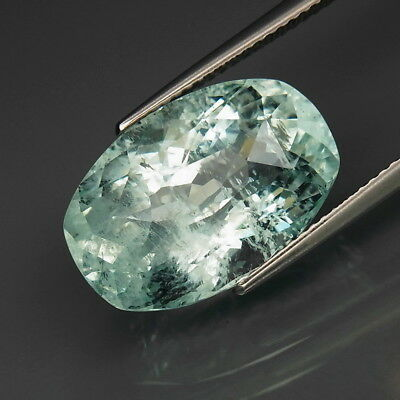 13.03Ct.Ravishing&Full Fire! Natural BIG Sky Blue Aquamarine Cushion Rose Cut