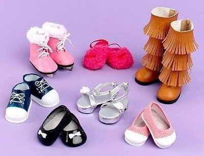 "Set of 7 Pairs of Shoes for 18"" Doll fit American Girl NEW"