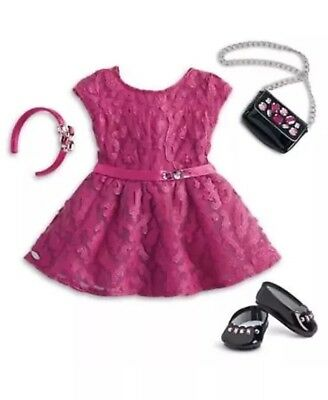 """NIB American Girl 18"""" Doll MERRY MAGENTA OUTFIT Retired Ready To Ship"""
