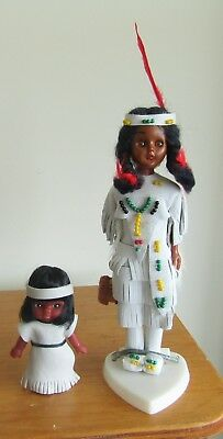 2 VINTAGE Native American dolls 1 with papoose and drum leather clothes beads