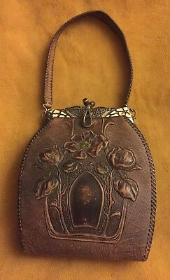 Vintage Antique Art Deco Nouveau Stamped Leather Purse Turnloc Clutch by JEMCO