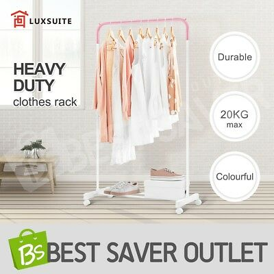 Metal Clothes Rack Garment Display Rolling Rail Coat Hanger Stand Dryer Portable