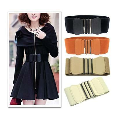 Women Wide Waist Belt With Buckle Thick Elasticated Stretch Belts Accessory T