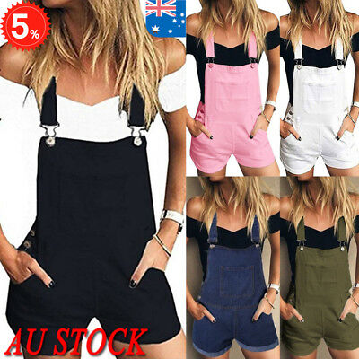 AU Womens Bib Pants Shorts Playsuit Sleeveless Casual Jumpsuit Romper Overalls