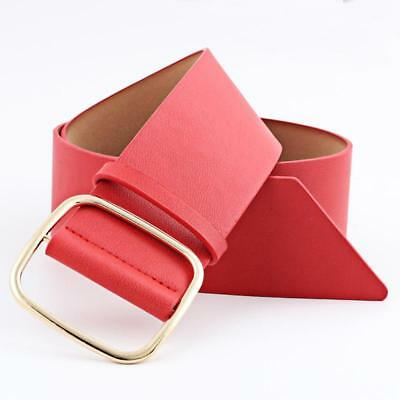 Women New Design Square Metal Pin Buckle Faux Leather Belts Dress Up Belt T