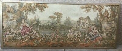 Large Vintage French Wall Tapestry - Romantic Country Scene