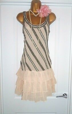 Vintage 1920s Style Gatsby Flapper Charleston Sequin Beaded Dress Size 14