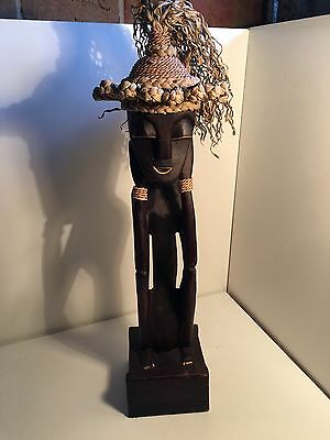 Vintage Old African TRIBAL HUMAN Sculpture WOODEN Carved Statues Figurine Art