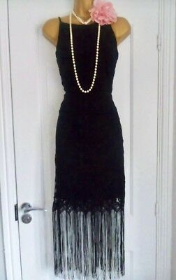 NEXT 1920s Style Gatsby Flapper Charleston Fringe Tassel  Dress Size 14 NEW
