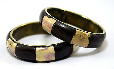 Vintage Pair Of Indian Bangle Made of Brass base Wood Mosaic Ivr Inlay. i8-38 AU