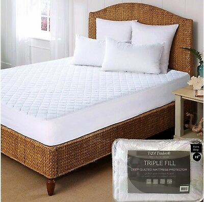 Luxury Deep Quilted Mattress Bed Protector Topper Fitted Cover S King & Pillow