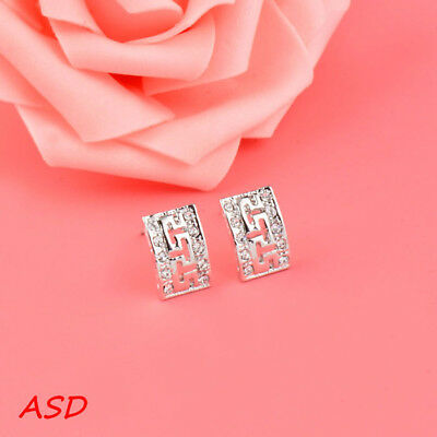 Wholesale 10pcs Rectangle Pattern Silver Gold Eardrop Tiny Rhinestone Ear Stud
