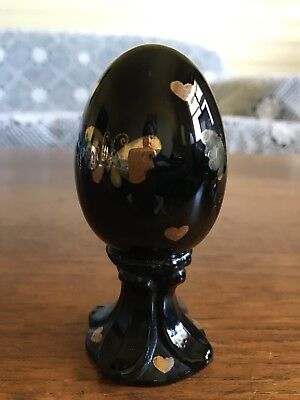 Fenton Hand Painted Art Glass Egg Signed J Vincent