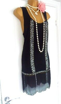 NEXT 1920s Style Gatsby Flapper Charleston Sequin Beaded Dress Size 8