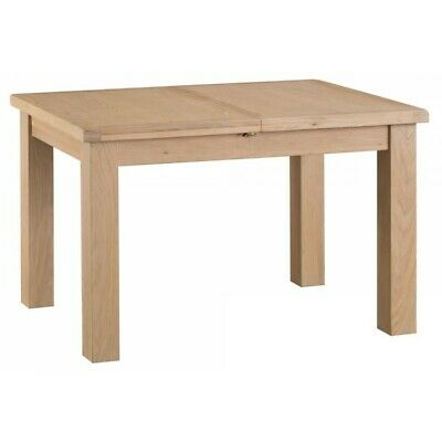 Langham Lime Washed Oak Wood Furniture 1.25m Butterfly Extending Dining Table