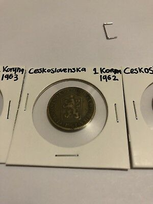 3x Coins From Czechoslovakia, 1962+1963+1980