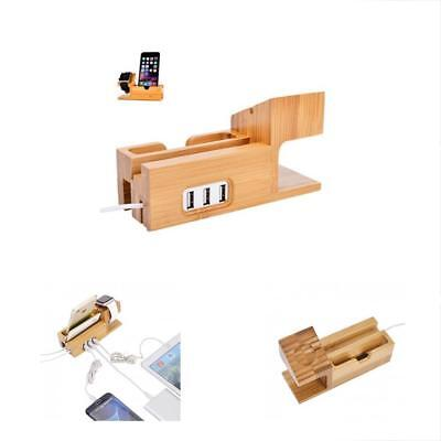 Watch Stand For Apple Bamboo Wood Charging Bracket Docking Station Cradle Holder