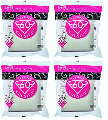 JAPAN V60 Misarashi Coffee Paper Filter Size 02 100 Count White 4Pack W/ Track