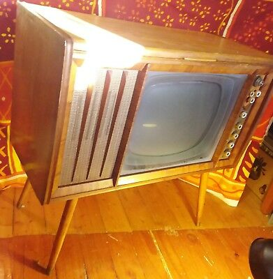 Vintage 50s Tv Garrard Television Cabinet with Record Player
