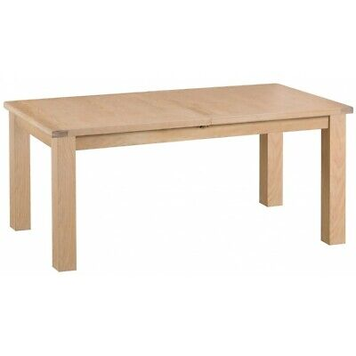 Langham Lime Washed Oak Wood Furniture 1.7m Butterfly Extending Dining Table