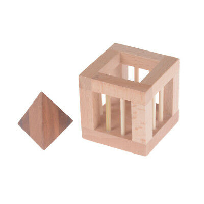 3D Wooden Triangle IQ Brain Teaser Interlocking Burr Puzzles Game Toy For Kid LJ