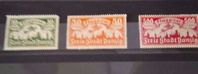 Stamps, Free City Danzig 1923 Airmail, -  Three Air Mail Stamps -1923