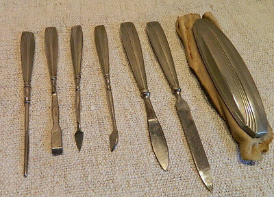 1920's Art Deco Manicure Set 7 Silver Plated Tools Chamois Skin Polisher